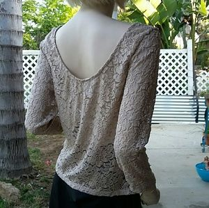 Ambiance Tops - Tan Lace Top 2X Medium